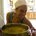 Nicole serves up a huge pot of kitcheree
