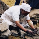 Babaji working on a rock wall project in the spirit of Karma Yoga, 2000