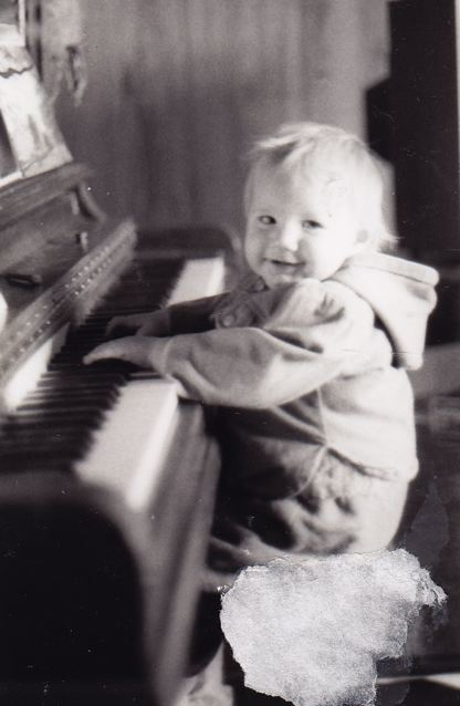 At the piano, 1986