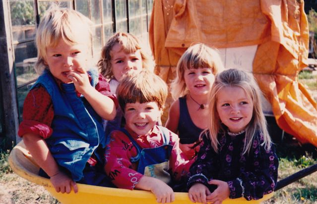 Wheelbarrow full of kids, 1989  Joah, Chrisana, Mason, Mamata, Soma