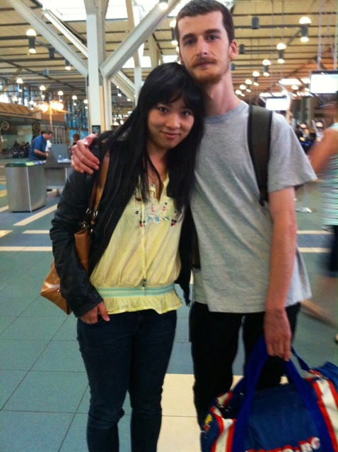 Jarrad with his girlfriend Emily, at the airport on his way to art school