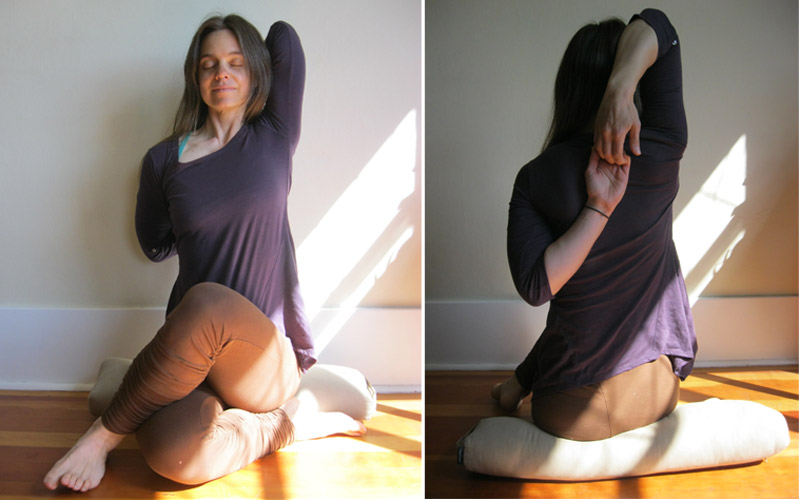 Full Gomukhasana pose (front view and back view)