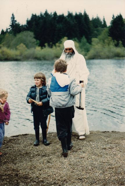 With Babaji at Blackburn Lake (when we had access to the lake from the Centre), 1986