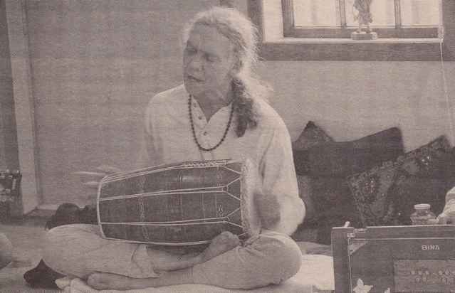 Vikash at kirtan at the Centre a few years ago (photo from the Driftwood - local newspaper)