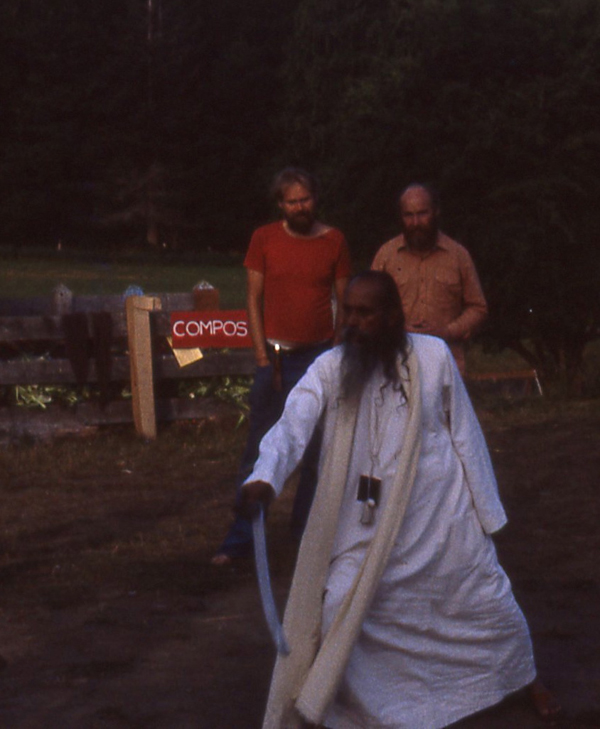 Babaji demonstrates sword technique at SSC Retreat 1982, SN and Mahesh behind