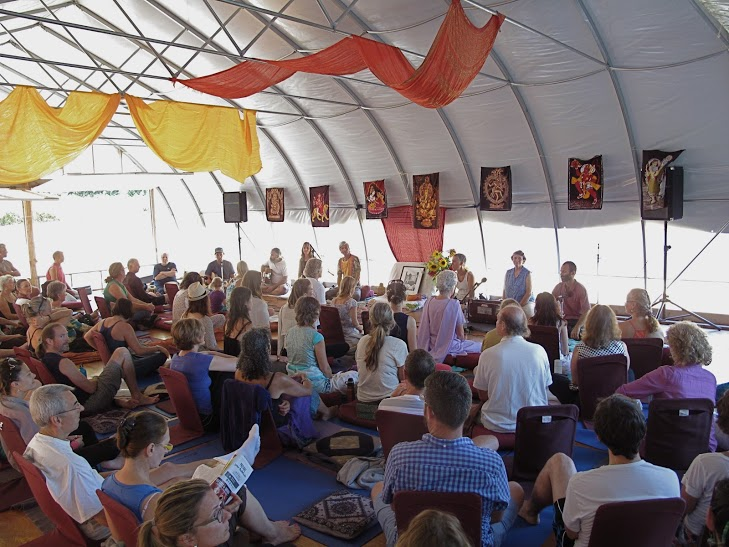 Satsang in the pond dome during the retreat, Summer 2013
