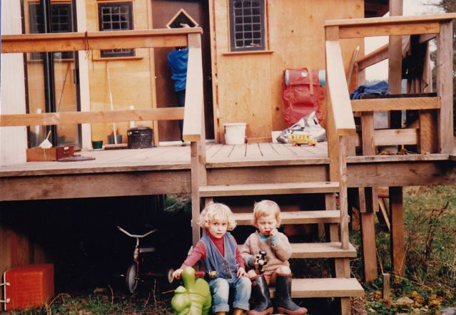 Caleb & Piet (note the boots) on the back steps, 1984