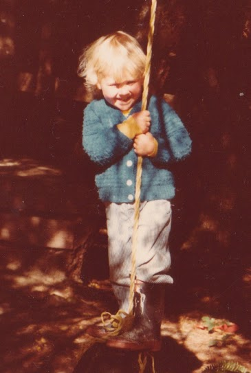 Piet on the rope swing, circa 1984