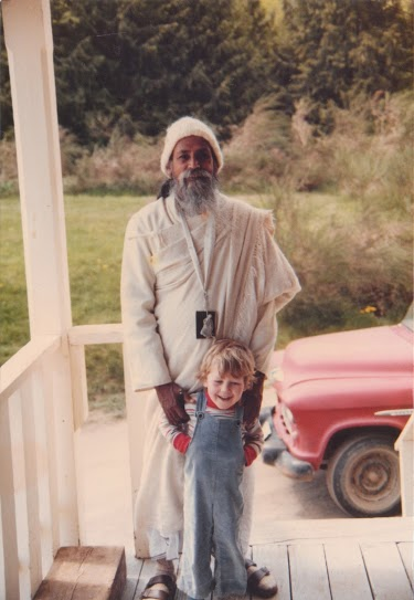 Piet on the back deck with Babaji, circa 1984