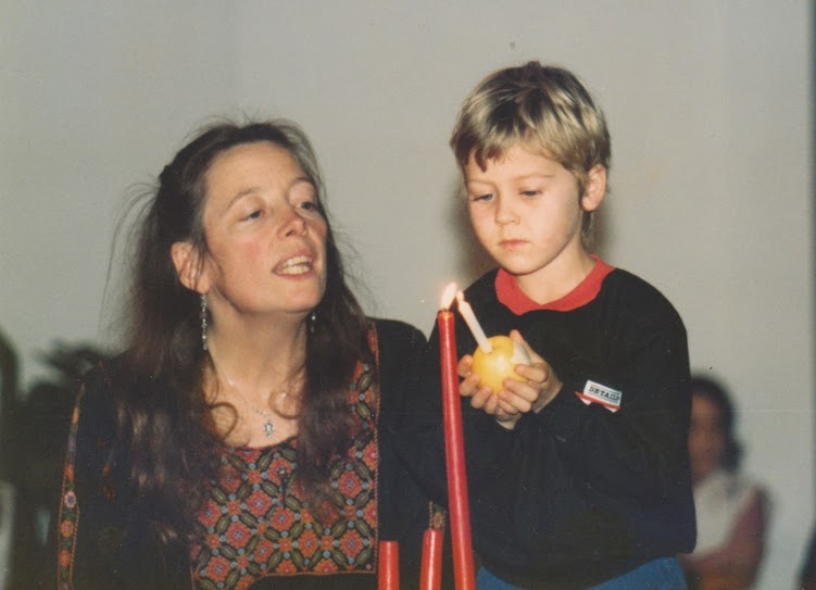 Piet with Usha, Advent ceremony, circa 1985