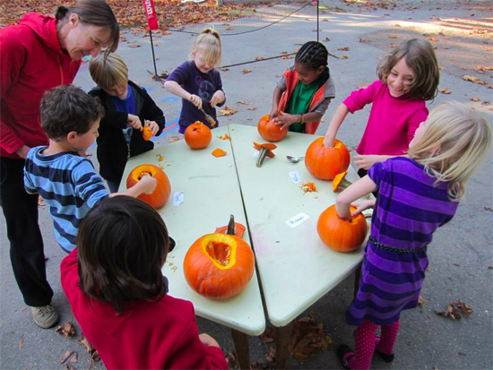 Halloween math - guessing how many seeds are in the pumpkins