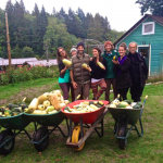 Karma Yogis Christine, Tana (behind Raven), Raven, Olivia, Jeff, Marianne, Mark and all the squash!