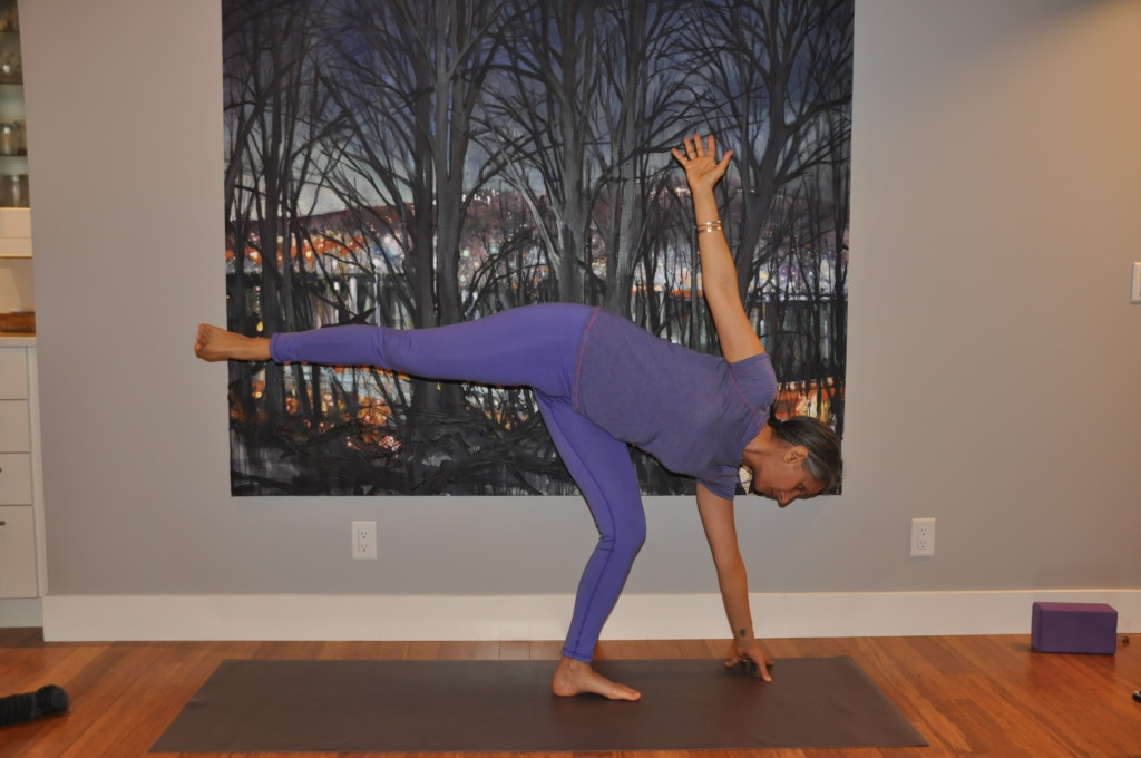 moving from triangle to half moon pose