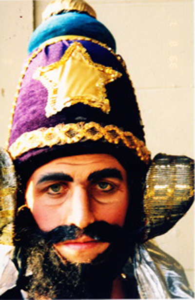 Mischa dressed as Vibishan in the Ramayana, 1999