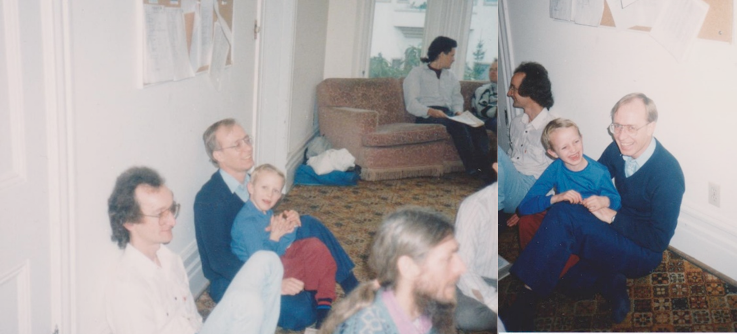 Left: Front: Harvey Lajeunesse, Phil, Mischa, Narayan Groves. 1988Right: Harvey, Mischa, Phil. 1988