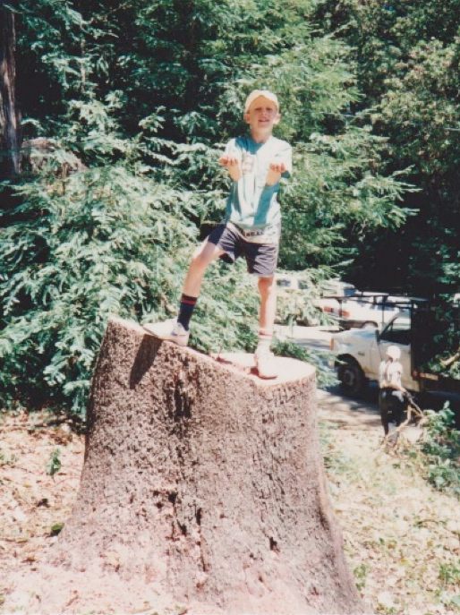 Mischa, 1991, Mount Madonna Centre (Huge tree stump!)