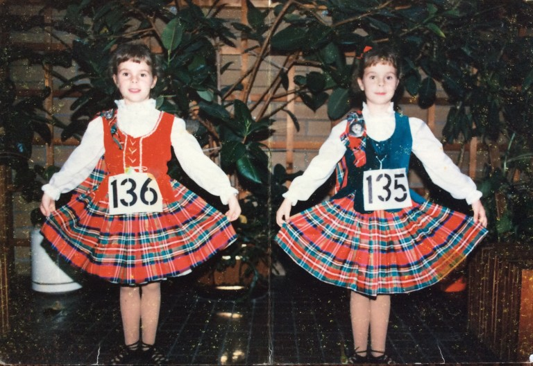 My twin sister, Adrienne, and I at a Highland Dancing competition circa 1989. We spent a lot of time at dance competition - all forms of dance for many years - I'm on the left.