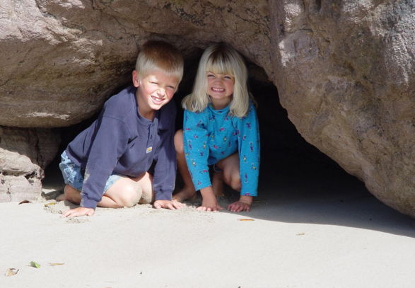 Kai & Shael at Cathedral Cove in New Zealand 2004