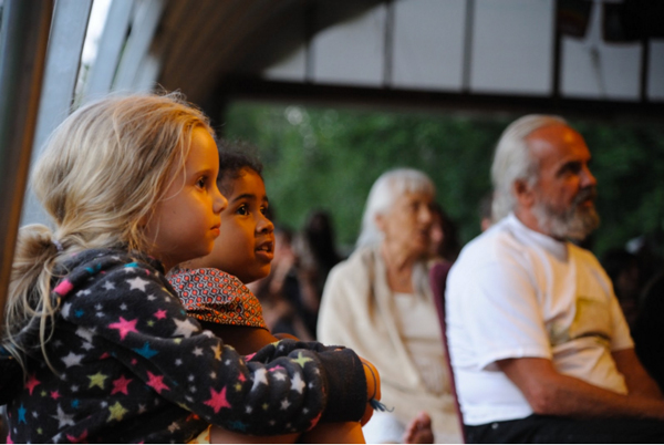 Stella and Takaya watching the Ramayana, 2014