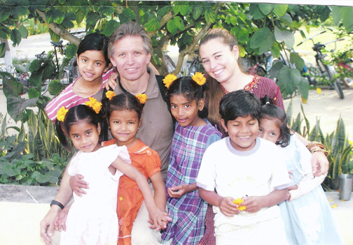 With the kids at the Sri Ram Ashram, March 2002