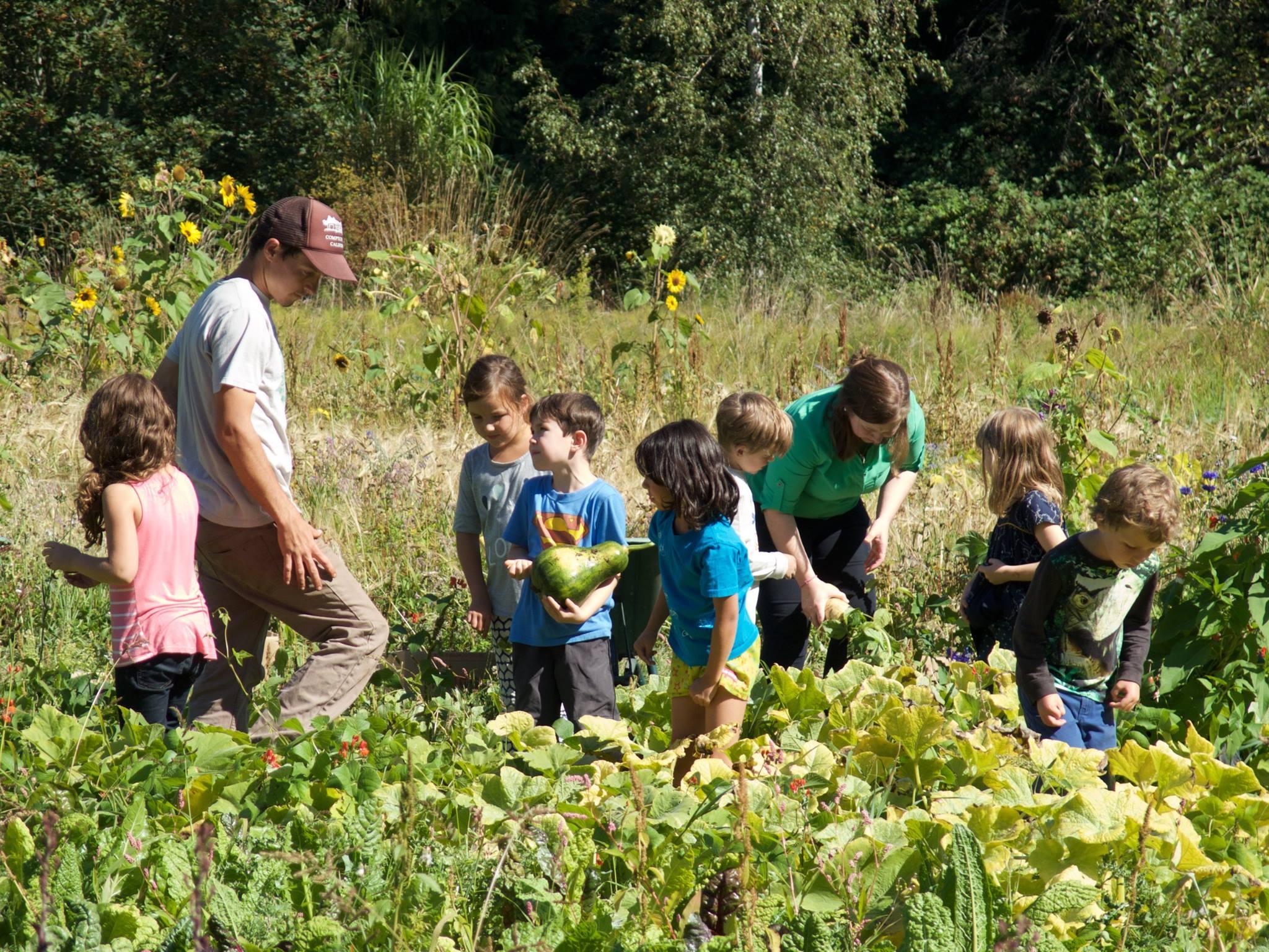 School kids on the farm with Milo