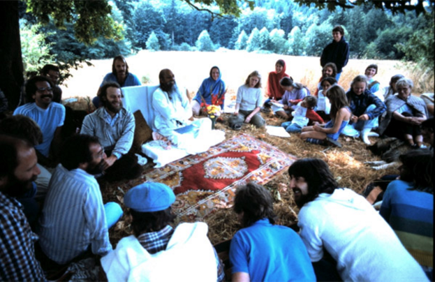 On Babaji's first visit to the land, under the big maple tree. 1981