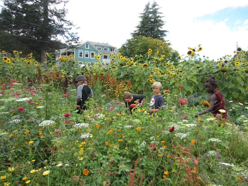 School kids in the garden