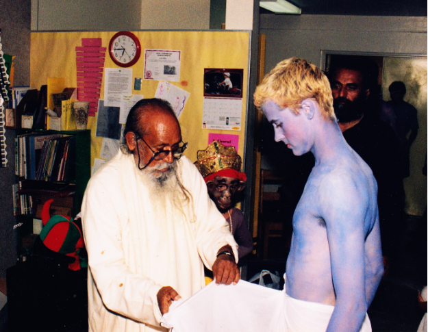Babaji wrapping Rama's dhoti. Piet played Rama in 1999.
