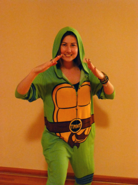 Sharna in her turtle costume on Halloween