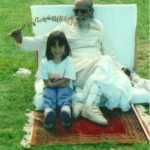 Amita on the mound with Babaji