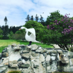 The swan by the front fountain (lilacs blooming in the background)